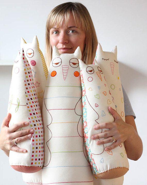 Extra Large Stuffed Toy Owl Fabric Owl Plush by TheFoxintheAttic, £45.00