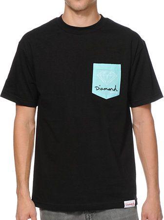 Diamond Supply Co OG Sign Black & Mint Pocket Tee Shirt at Zumiez : PDP