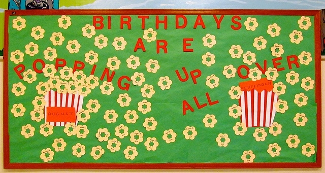 Aug/Sept 2012 Birthday Bulletin Board  There's some new kids in town! Other folks have taken over the making of the boards for the 2012-13 school year. This one is so-so...just sayin'!