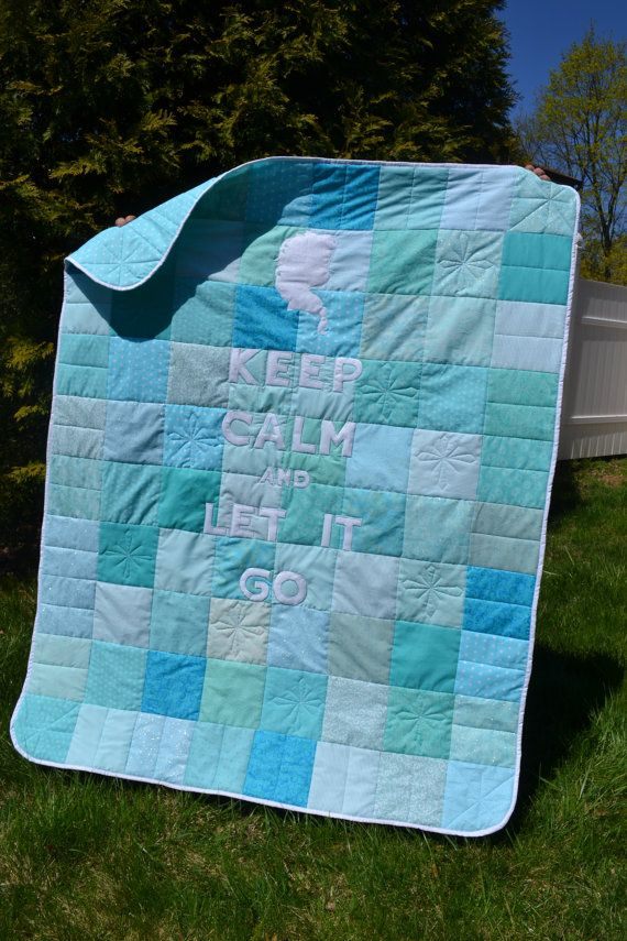 Frozen Inspired Keep Calm Let it Go Ice Blue Teal Lap Quilt - BEAUTIFUL!