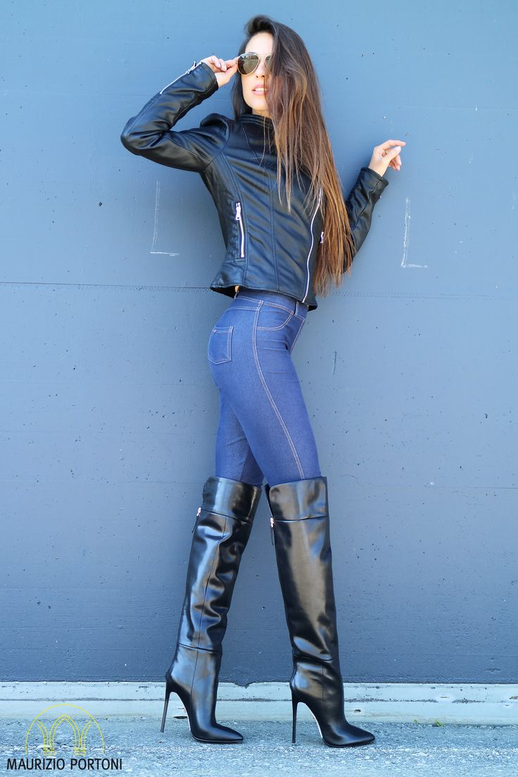 Leather jacket with boots