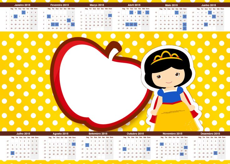 Convite Calendário 2015 Branca de Neve Cute