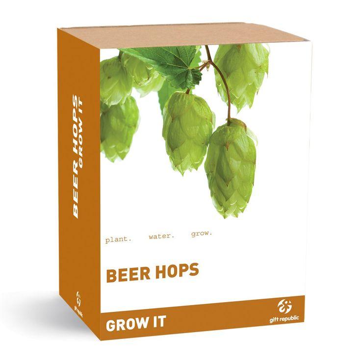 """Das Pflanzset """"Grow it"""" enthält alles, was man braucht, um seinen eigenen Bierhopfen zu züchten: Ein lustiges Geschenk für Biertrinker und Hobby-Brauer mit grünem Daumen!"""