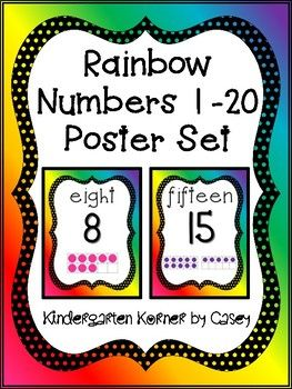 These colorful rainbow posters for numbers 1 to 20 come in your choice of print style or fancy font. All rainbow bordered posters feature: spelling of numeric word at the top, the number in the center, and a 10 frame representation of the number at the bottom.