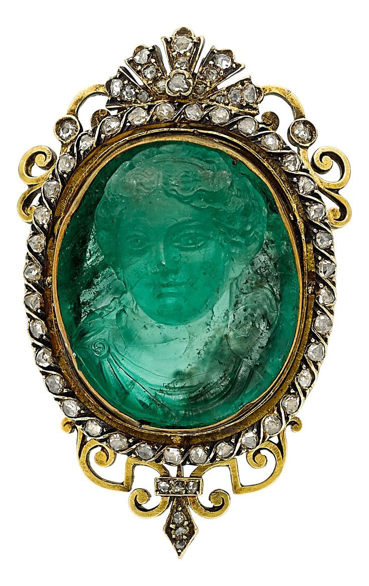 a7e1b07ab Antique Emerald Cameo, Diamond, Gold Brooch. The brooch features an  oval-shaped emerald cameo measuring 23.13 x 19.57 x 10.89 mm, framed by…