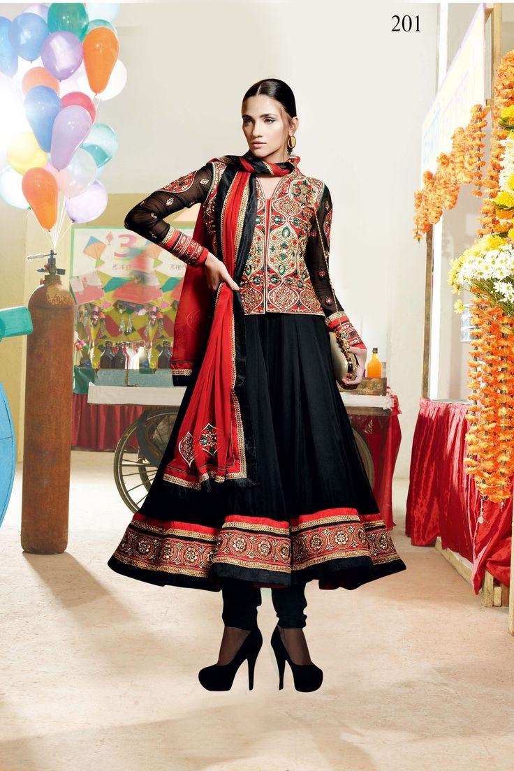 "Beautiful Designer Dress with Unique Design for Best Look Top :  Faux Georgette Bottom : Santoon Dupatta : Faux Chiffon  Work : Resham,Zari stone and patch border work Top Length : 48"""