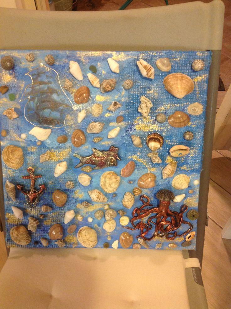 Deep sea treasure mixed media painting by Anna R