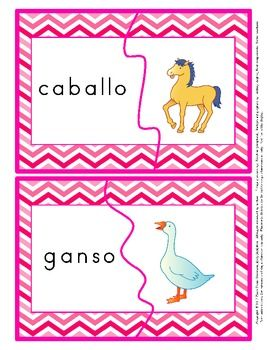 Two piece puzzles for dual language immersion classrooms where the core languages are Spanish and English.  $