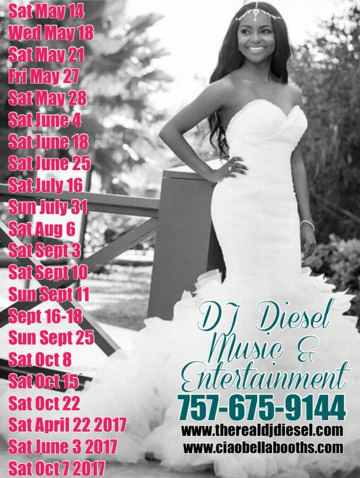 2016 and 2017 are huge years for Weddings! DJ Diesel Music & Entertainment LLC has you covered!! We service over 40 Weddings per year up and down the coast. Pride, professionalism and fun is a staple of my company! If you are getting married in 2017, please let us know as soon as possible to ensure you have the best of the best!! Call us at 757-675-9144 or visit www.therealdjdiesel.com and www.ciaobellabooths.com