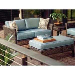 Hampton Bay Fenton 4 Piece Patio Seating Set With Peacock Java Patio Cushion
