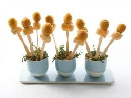 delicate skewers of breaded chicken and olives