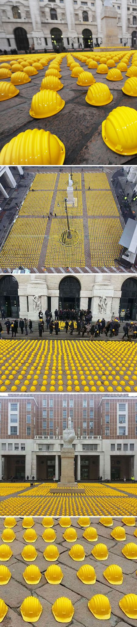Italian workers used an art installation to protest the immense number of job losses in the construction sector. 10,000 yellow helmets were placed in front of Milan's stock exchange as workers, laborers, clerks, surveyors, architects and real estate agents made a statement on their 'la giornata della collera' – 'the day of anger'.