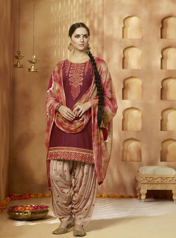 Maroon Cotton Patiala Suit 82540