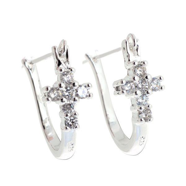 Korean Style Women Silver U Shape Hoop Earrings Crystal Cross U Ear Hoop Silver Plated Horseshoe Hoop Earrings