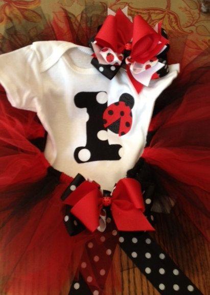 Ladybug Birthday Set by MyBellasBowtique on Etsy, $45.00