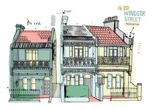 A new book by illustrator James Gulliver Hancock celebrates the buildings of Sydney.