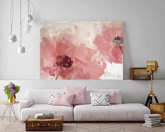 Pink Flowers, Floral Painting, Pink White Floral Art, Large Rustic Pink Flower Canvas Art Print up to 72″ by Irena Orlov