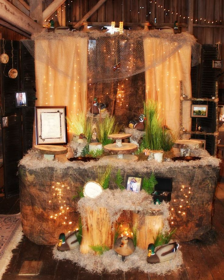 "My nephew loves duck hunting so I created this ""Grooms Table"" for his wedding......"