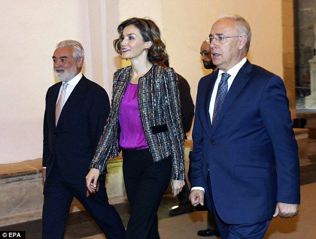 Queen Letizia attended the opening of the tenth International Seminar on Language and Journalismaccompanied by Royal Spanish Academy Director Dario Villanueva, left, and Rioja's Regional President Jose Ignacio Ceniceros, right