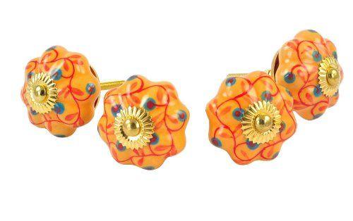 Juego de 2 mano amarilla de cerámica pintada a calabaza pomos para cajones de armarios tiradores de asas: Amazon.es: Bricolaje y herramientas