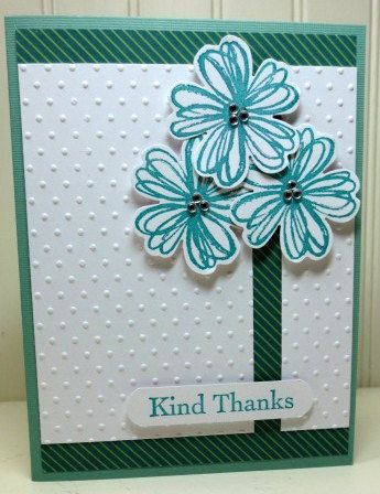Stampin Up Flower Shop, Swiss Dots Embossing Folder, Thank You Kindly, Thanks