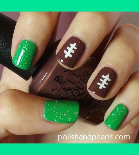 Super Bowl Football Nails!   MissJenFabulous F.'s (missjenfabulous) Photo   Beautylish