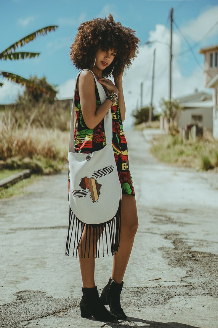 "blackfashion: "" Irie print dress x fringe messenger by @kingkesia both available > etsy.com/shop/bykingkesia model @alannanicolex photographer @jamieblak """