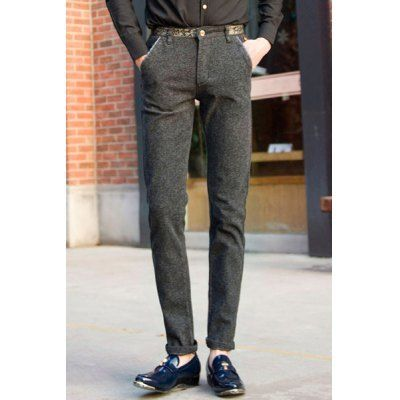 Personality Low Waist Zipper Fly Slimming Purfle Pocket Embellished Straight Leg Men's Pants on Storenvy