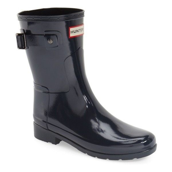"""Hunter 'Refined Short' Gloss Rain Boot, 1"""" heel ($155) ❤ liked on Polyvore featuring shoes, boots, ankle booties, ankle boots, navy, navy blue ankle boots, short booties, rubber boots, short ankle boots and wellington boots"""