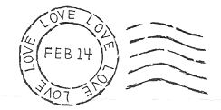 Valentine Postmark   A rubber stamp