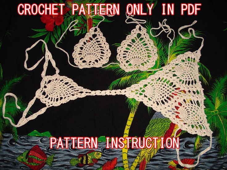 Crochet pineapple bikini G-string pattern and top instruction with diagram
