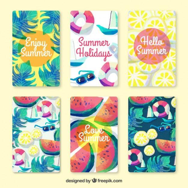 水彩画の効果で美しい夏のカードのコレクション 無料ベクター