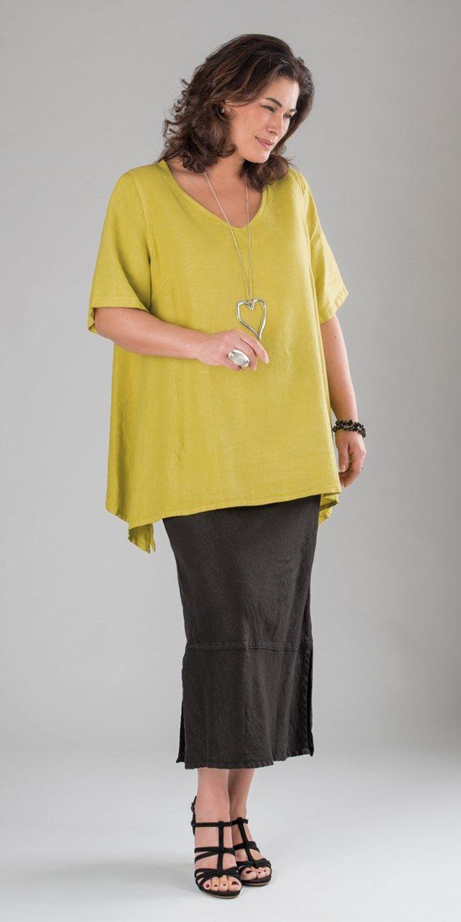 Belladonna lime linen v neck top and skirt at Box 2
