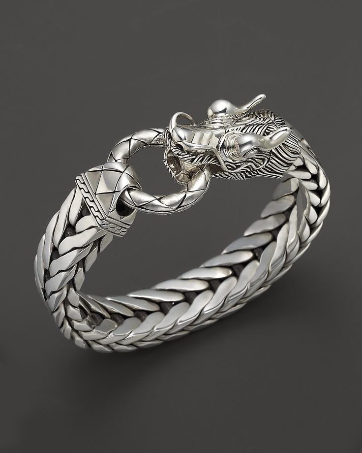 John Hardy Men's Naga Silver Dragon Head Bracelet on Fishtail Chain | Bloomingdale's