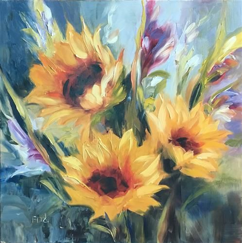 "Daily Paintworks - ""Three Sunflowers"" - Original Fine Art for Sale - © Charlotte Fitzgerald"