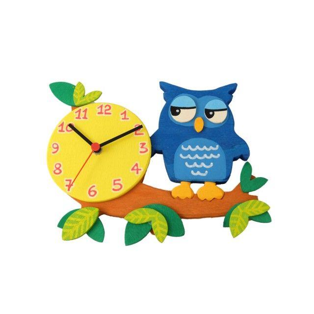 Orologio da parete per bambini - Gufo blu su ramo - Realizzato interamente a mano, dal taglio tramite traforo, all'assemblaggio e alla pittura con colori atossici.