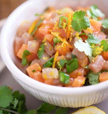 Tartare de saumon et de thon à la coriandre et aux zestes d'agrumes, huile au gingembre - Ôdélices : Recettes de cuisine faciles et originales !