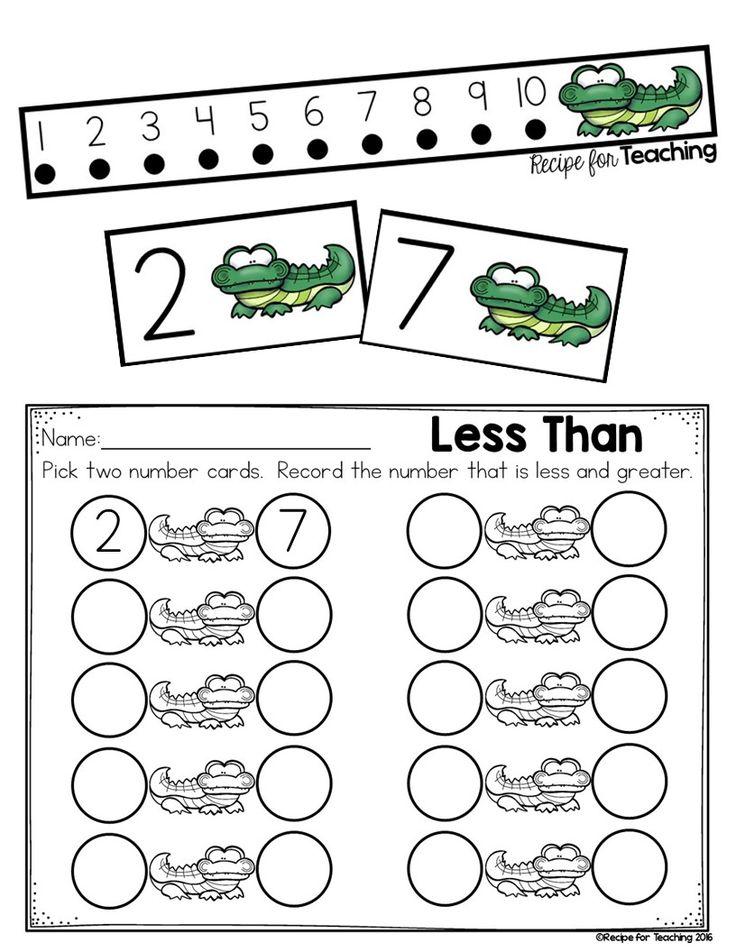 Kindergarten Less Than Greater Than Worksheets Math