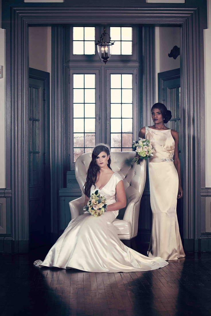 """Bride in Lela Rose """"The Shore"""" and bridesmaid in off white (candle) Amy Kuschel """"Dietrich"""".Ideas"""
