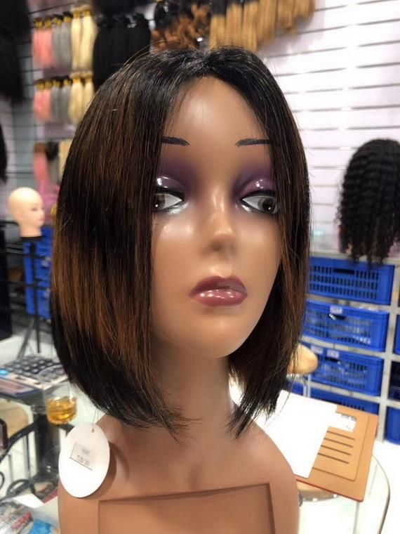 READY TO SHIP .Human hair Ombré wig. Color black and brown wig.The length is 12inches long,This beau