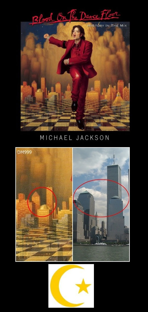 "Michael Jackson  ""Blood on the Dance Floor: HIStory in the Mix"" released 1997    Imagery: A salute to the 9/11 attack to happen four years later. MJ's arms point towards the 9 and 11 on a clock. The city behind him is missing the Twin Towers which should have been there in '97. A crescent moon and star are in the sky, representing the Islamic faith, the group which was falsely blamed for the attack to further the propaganda to get us to go to war. Masonic checkerboard. Pyramids underneath."