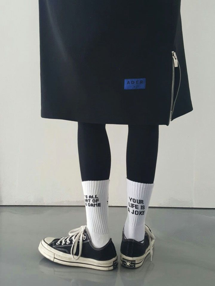 'Your life is a Joke' socks. Black&white