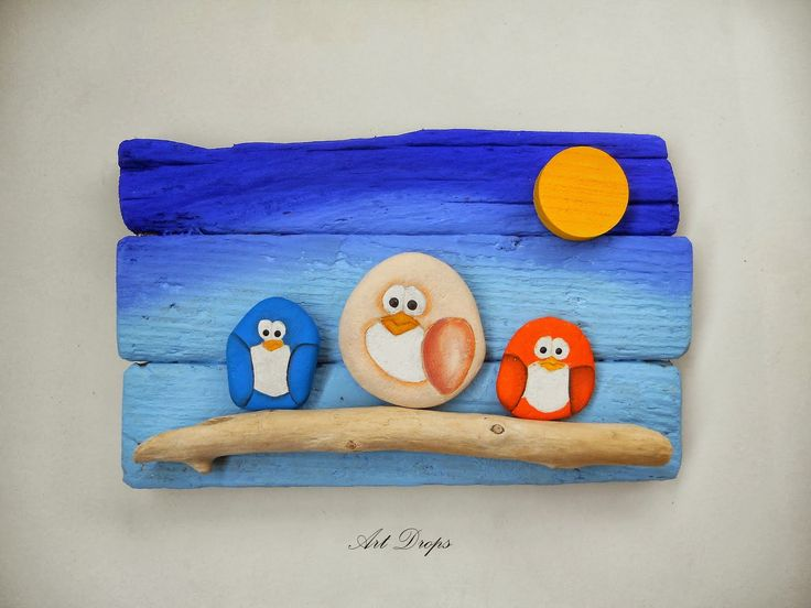 Art Drops: OVCE, SOVE I PTICE... Such a cute idea for displaying rock birds!!