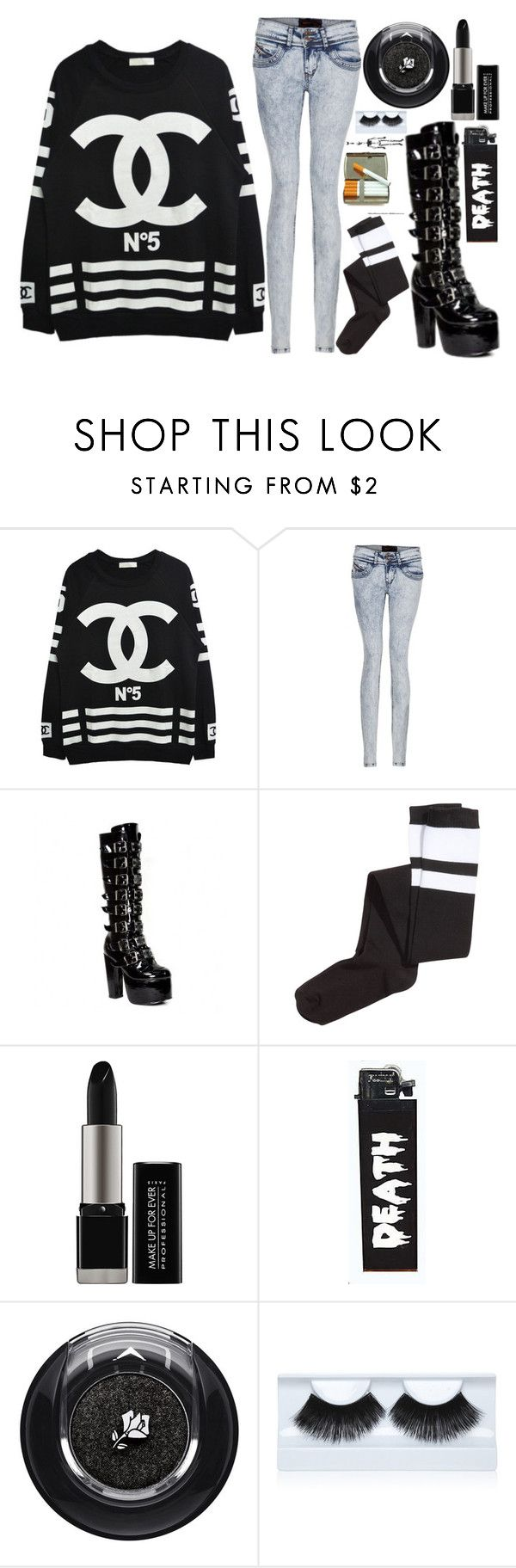 """Chanel"" by ofmiceandvampiraydg ❤ liked on Polyvore featuring Chanel, H&M, MAKE UP FOR EVER, Lancôme and Gorgeous Cosmetics"