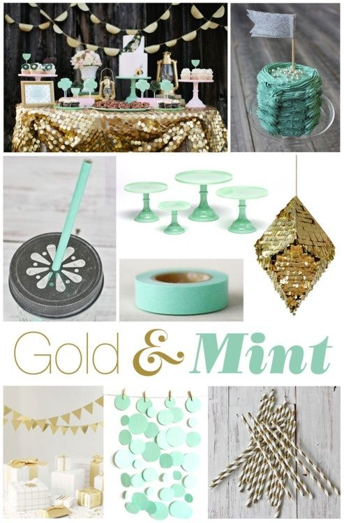 #confettimagspring. A sparkling spring soirée, combining mint and rose tones with shimmering gold accents. Some great ideas for the finer details like straws and cake stands.    Mint / Gold