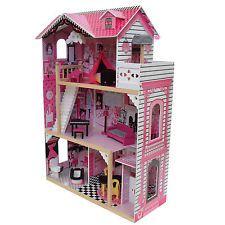 Alexandra De Madera Casa De Muñecas Con Ascensor Muebles Niños Juguete Juego de personificación de Barbie