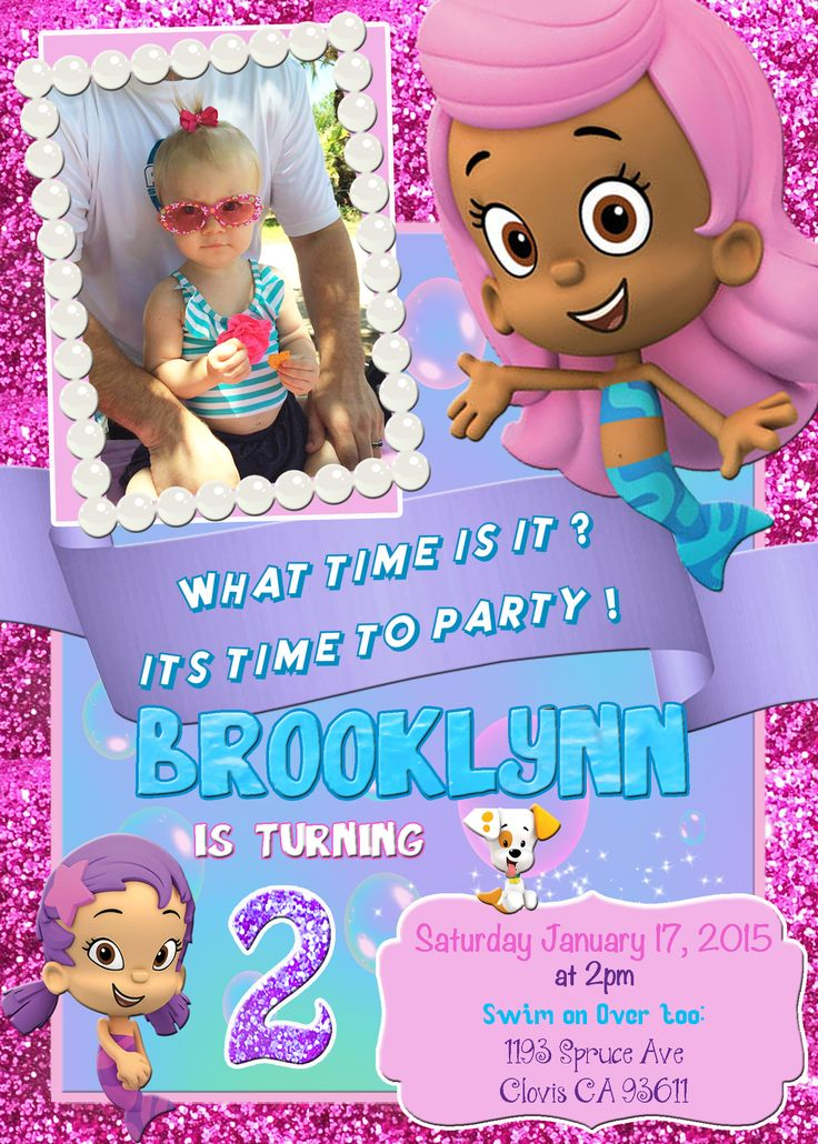 Bubble Guppies Birthday Party Invitation Invite Molly Oona Bubble Puppy