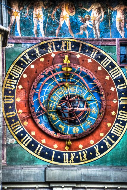 "Astronomical Clock ""Zytglogge"" Tower, Bern, Switzerland - a landmark medieval tower built in the early 13th century, it has served the city as guard tower, prison, and 15th-century astronomical clock. Astrogeographic position: in highly defensive Scorpio sign of strongholds, prisons, torture, metal working + dynamic male fire sign Aries sign of warfare, towers, strongholds. Fl 4."