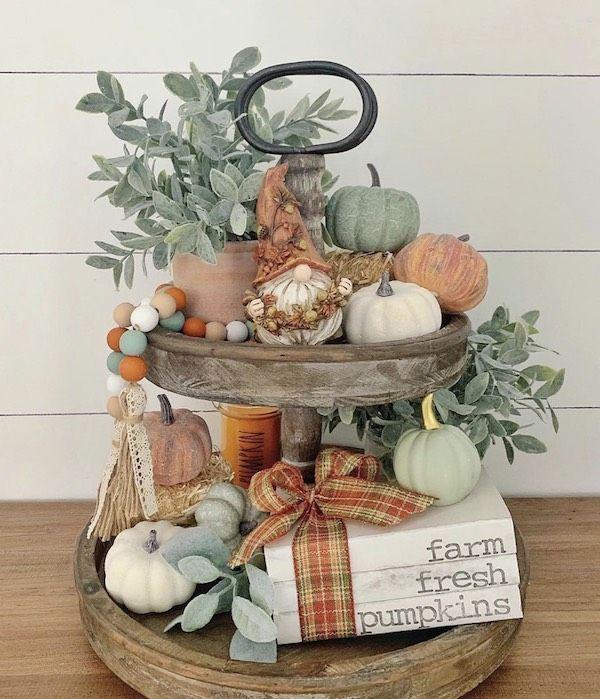 20 Tiered Tray Fall Decor Ideas Fall Thanksgiving Decor Tray Decor Fall Home Decor