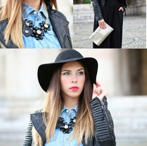 G Star Raw Jeans Shirt, Yves Saint Laurent Clutch, H&M Hat, Lookbookstore Leather Jacket, Forever 21 Necklace, Stradivarius Maxi Skirt